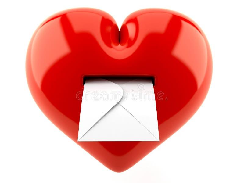 Coeur avec l'enveloppe illustration de vecteur
