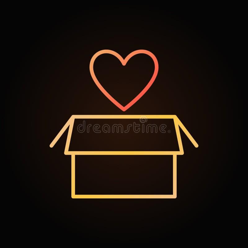 Coeur avec l'icône colorée par vecteur d'ensemble de donation de boîte illustration libre de droits