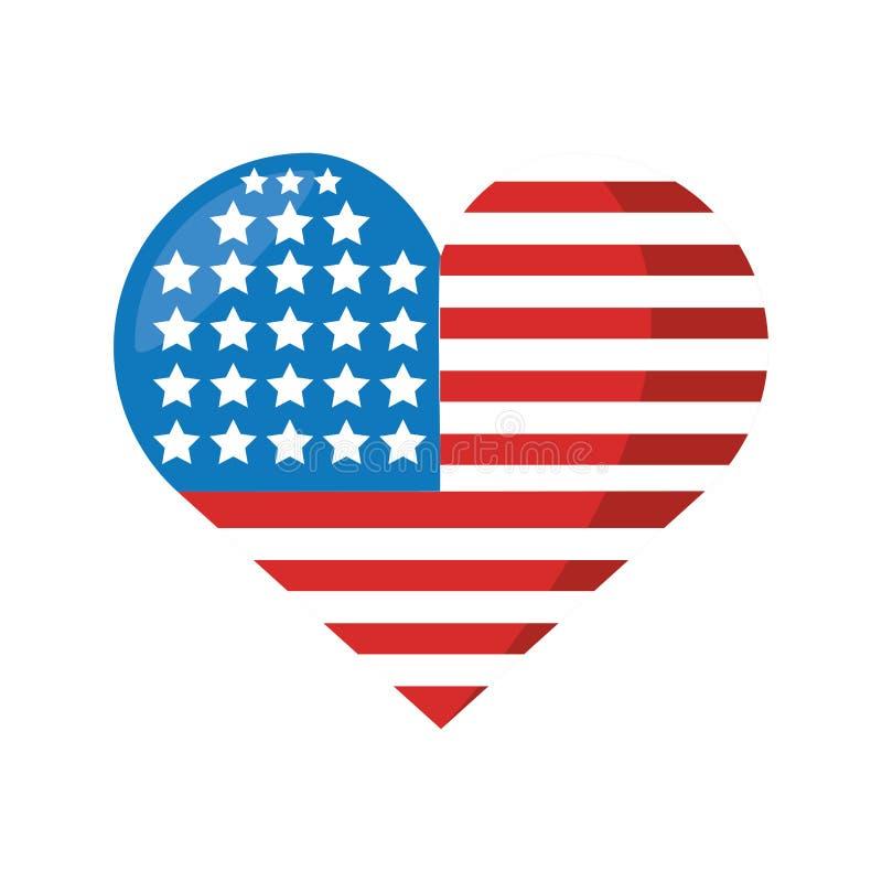 Coeur avec l'icône de drapeau des Etats-Unis illustration stock