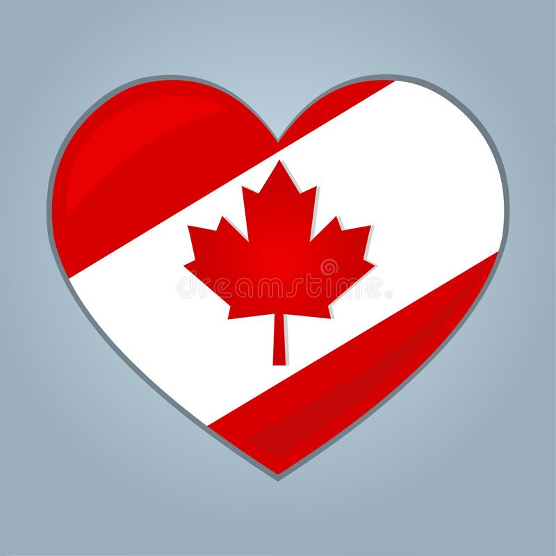 Coeur avec l'illustration de symbole de vecteur d'isolement par drapeau canadien illustration libre de droits