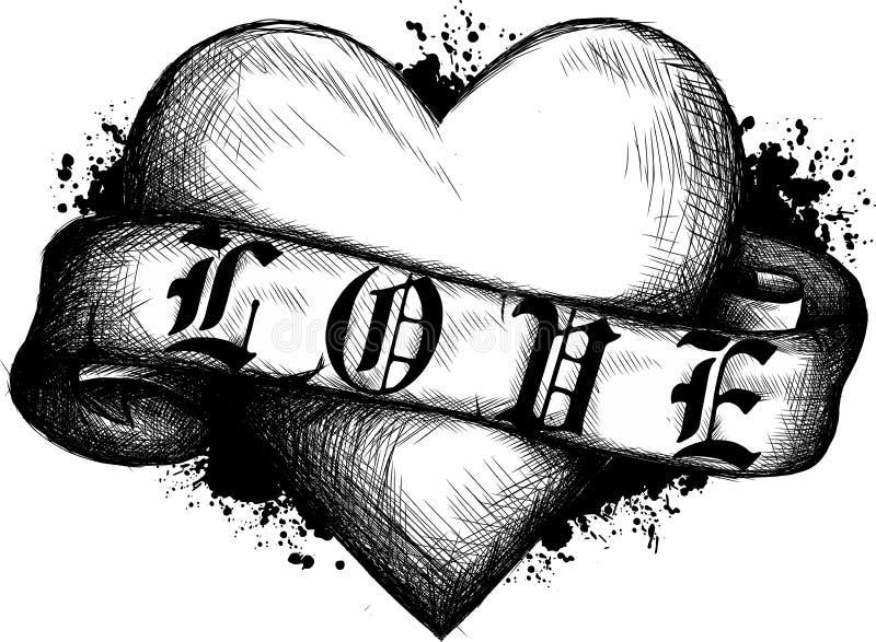 Coeur avec la bande dans le type de tatouage illustration dans le style gravé illustration stock