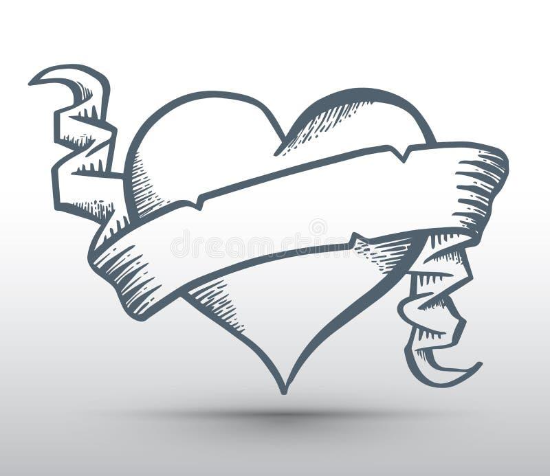 Coeur avec la bannière de dessin de ruban illustration libre de droits
