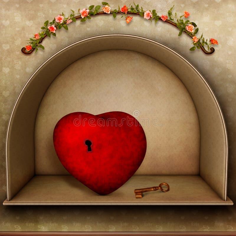 Coeur Avec La Clé Images stock