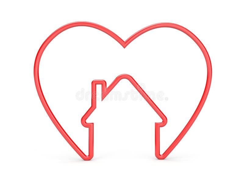 Coeur avec la forme de maison illustration stock