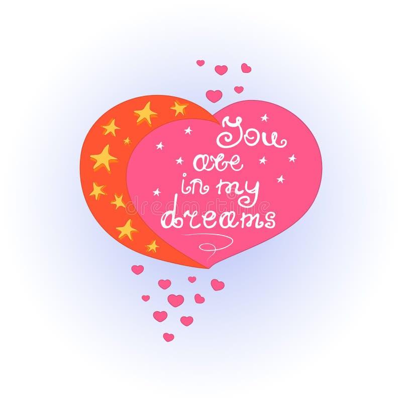 Coeur avec la lune et les étoiles En vous marquant avec des lettres soyez dans mes rêves Jour du ` s de Valentine de carte de voe illustration libre de droits