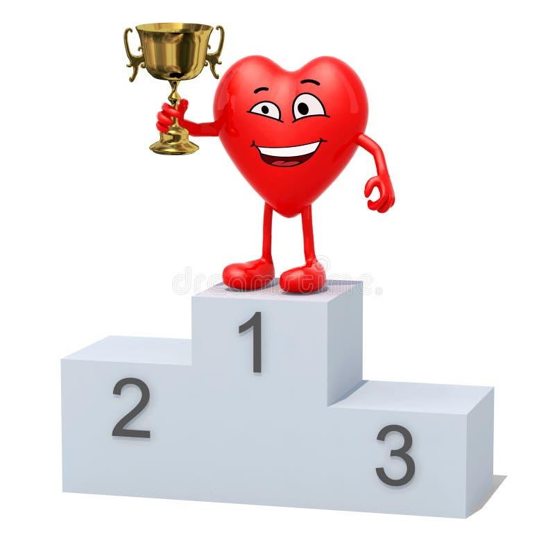 Coeur avec la tasse de gagnant sur le podium de victoire de sports illustration stock