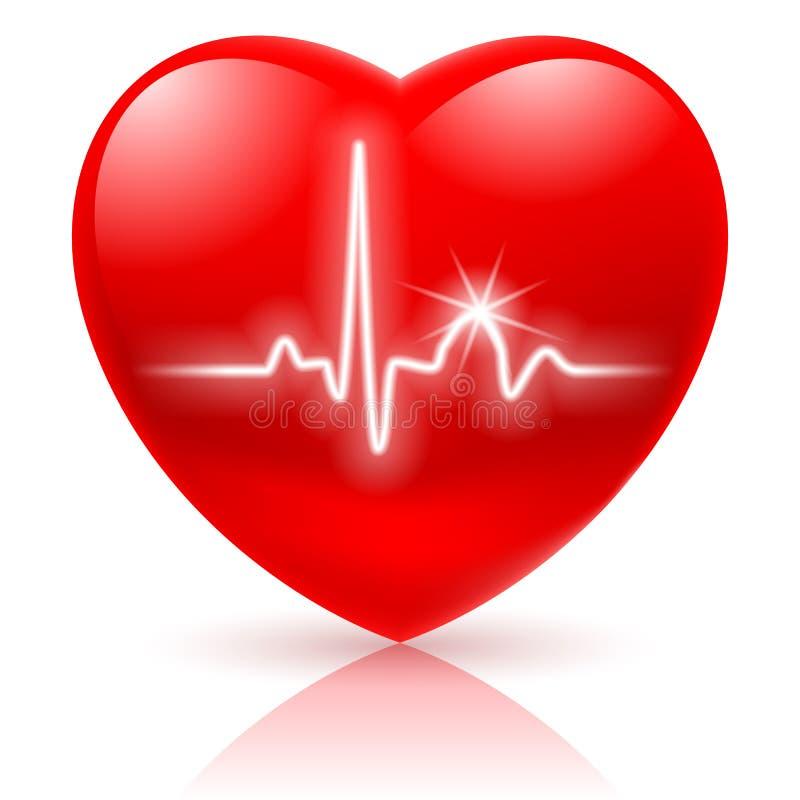 Coeur avec le cardiogramme. illustration libre de droits