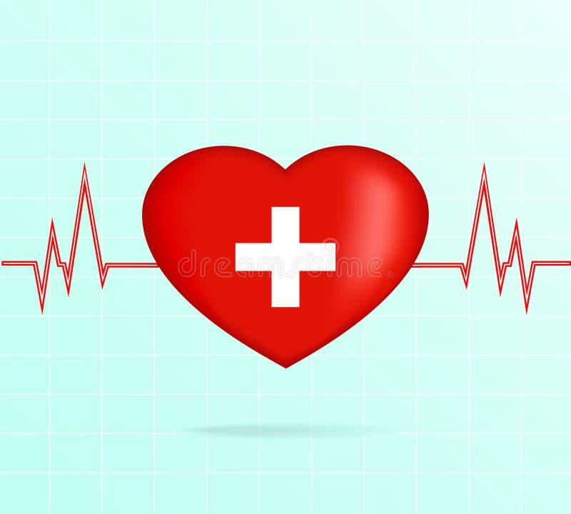 Coeur avec le cardiogramme photo libre de droits