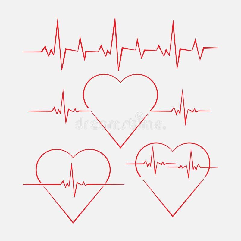 Coeur avec le cardiogramme, fréquence cardiaque, mesure de cardiogramme illustration de vecteur