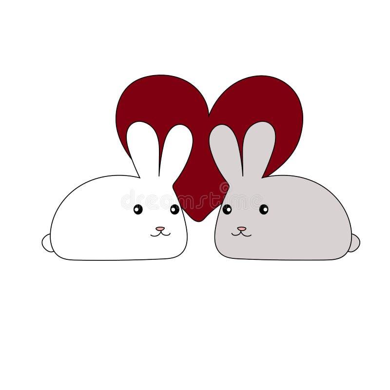 Coeur avec le design de carte de lapin pour le jour de valentines illustration de vecteur