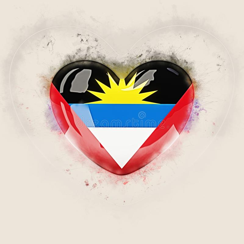 Coeur avec le drapeau de l'Antigua et du Barbuda illustration stock