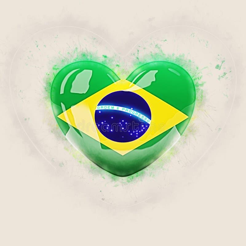 Coeur avec le drapeau du Brésil illustration stock