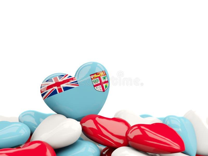 Coeur avec le drapeau du Fiji illustration de vecteur