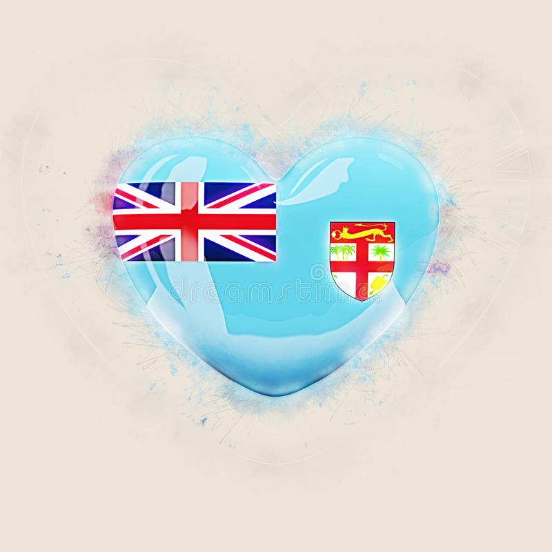Coeur avec le drapeau du Fiji illustration stock