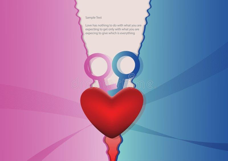 Coeur avec le fond bleu et rose illustration stock