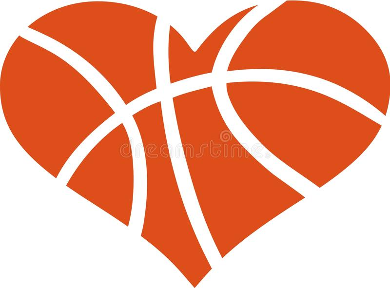 Coeur avec le modèle de basket-ball illustration de vecteur