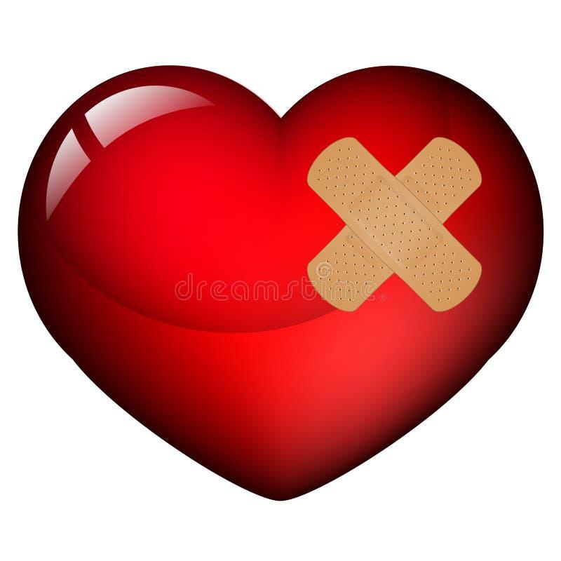 Coeur avec le plâtre illustration libre de droits