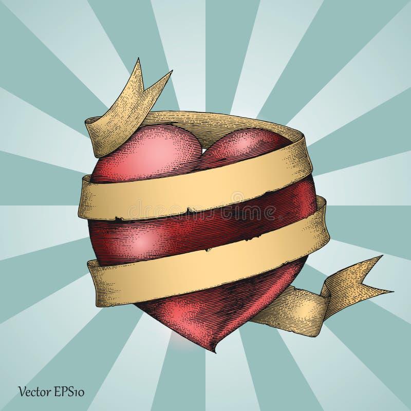 Coeur avec le style de gravure de dessin de main de bannière, symbole pour le tatouage illustration de vecteur