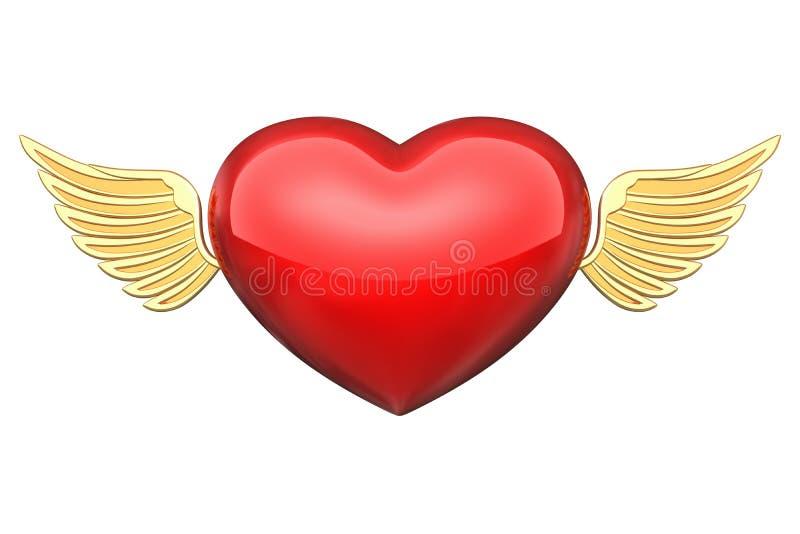 Coeur avec les ailes d'or illustration stock