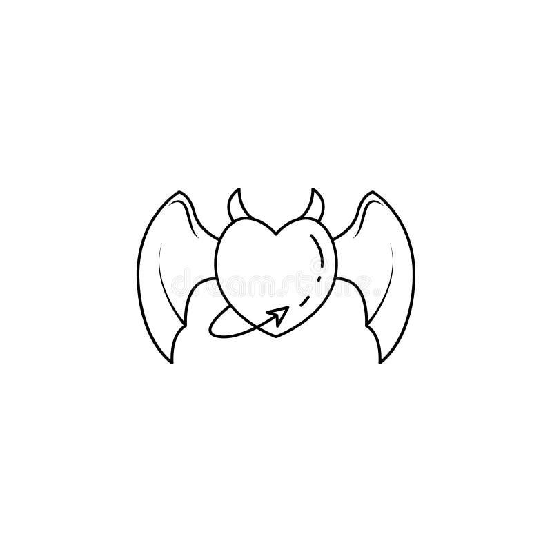 coeur avec les ailes et l'icône de queue Élément d'ange et d'icône de démon pour les apps mobiles de concept et de Web Ligne minc illustration libre de droits