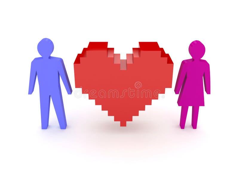 Coeur avec les chiffres mâles et femelles des deux côtés. illustration de vecteur