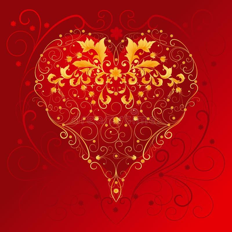 Coeur avec les ornements floraux illustration stock