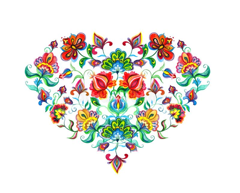 Coeur avec oriental - fleurs ethniques décoratives européennes Art populaire d'aquarelle illustration stock