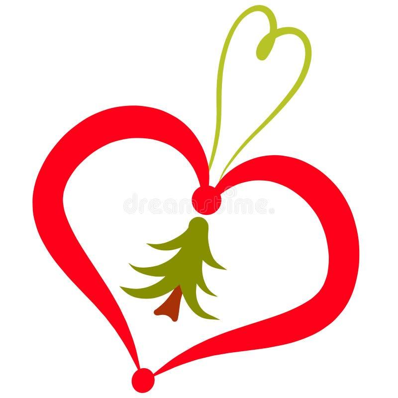 Coeur avec un arbre à l'intérieur, un jouet ou une chaîne principale, décoration illustration de vecteur