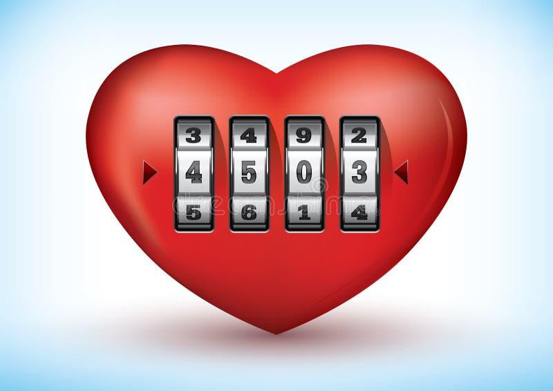 Coeur avec un blocage de combinaison illustration libre de droits