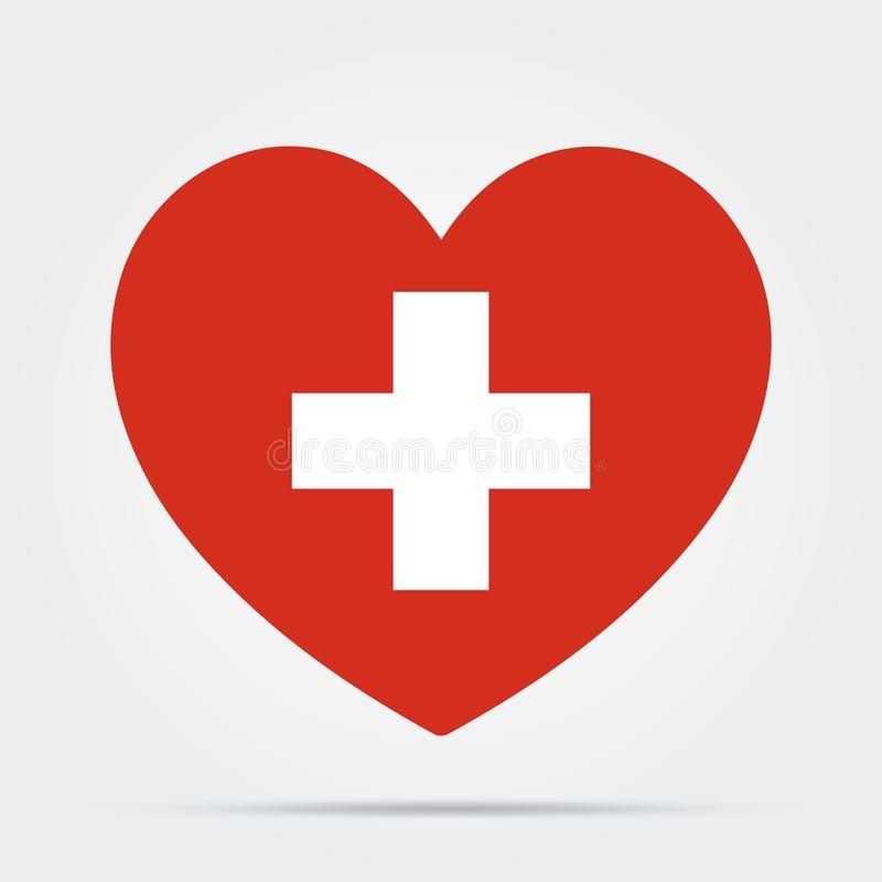 Coeur avec une croix isolée sur fond blanc Santé, icône Symbole médical Icône Santé Stock de vecteurs illustration libre de droits