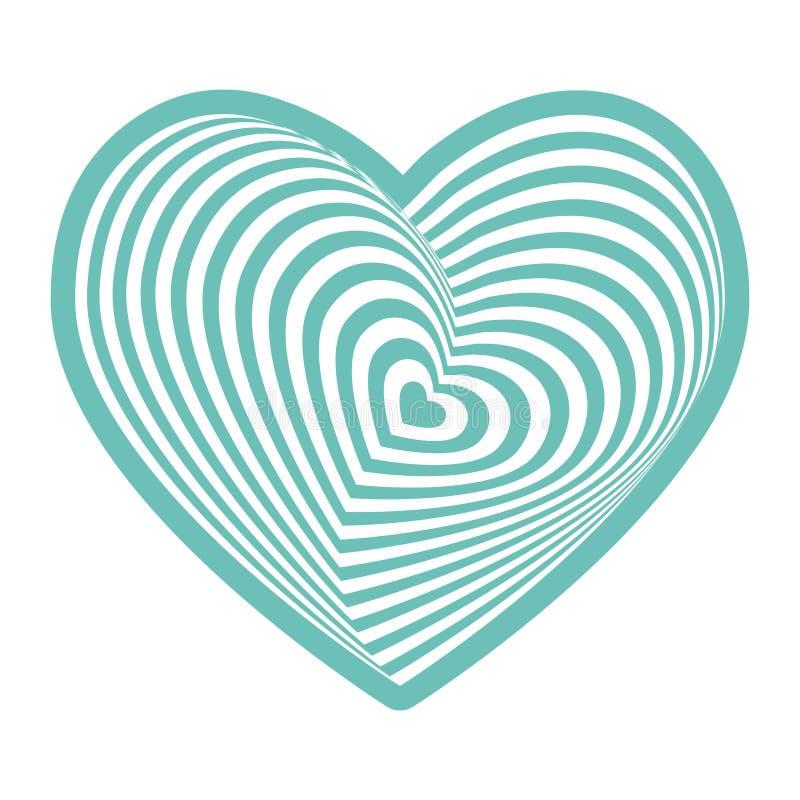 Coeur blanc sur le bleu de ciel d'aqua sur le fond blanc Illusion optique du volume 3D tridimensionnel Vecteur illustration de vecteur