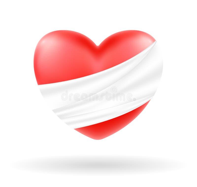 Coeur blessé avec le bandage blanc sur le fond blanc illustration de vecteur