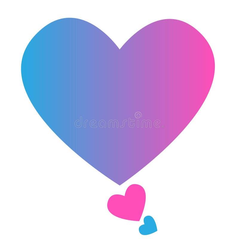 Coeur bleu énorme et deux petits coeurs rose et bleu sur un fond blanc, isolat, vecteur illustration de vecteur