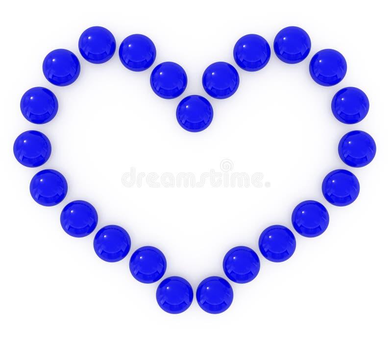 Coeur bleu de caramel d'isolement sur le blanc illustration libre de droits