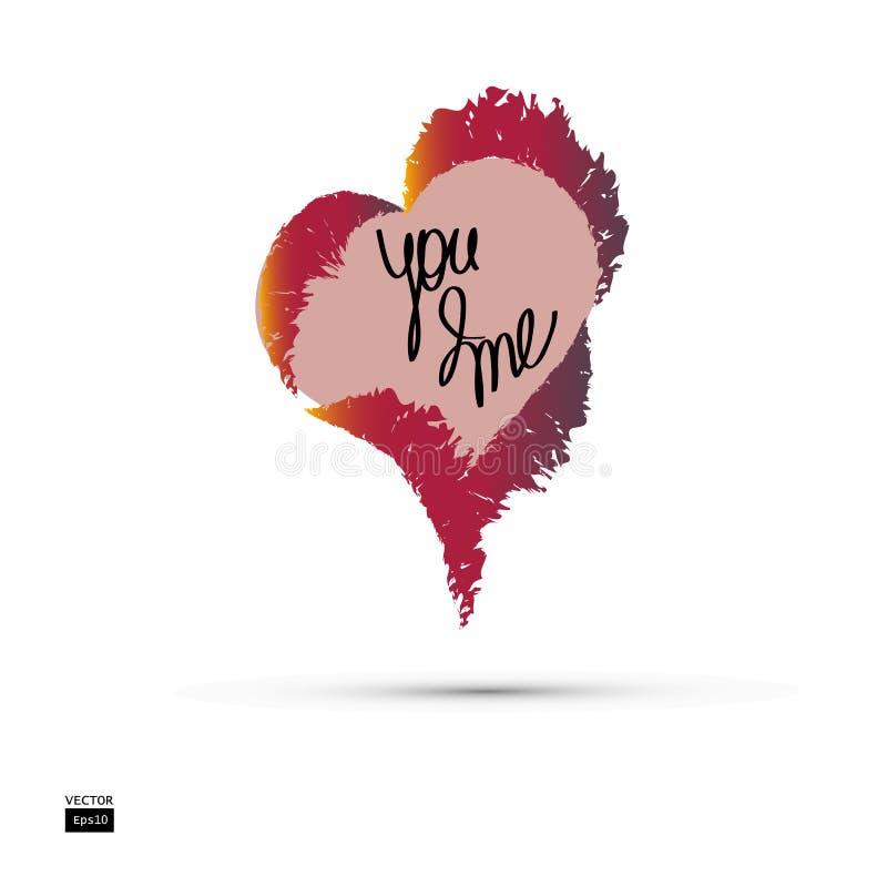 Coeur brûlant avec une inscription Vous et moi Amour Vecteur illustration libre de droits