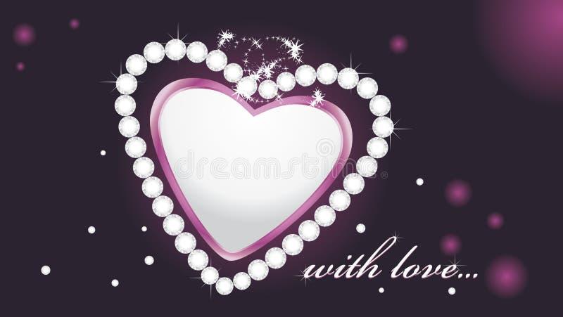 Coeur brillant avec des diamants sur le fond foncé illustration de vecteur