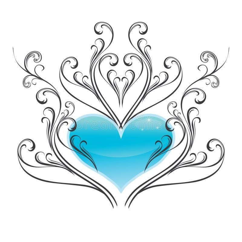 Coeur brillant de glace avec l'ornement de hiver-type. image stock
