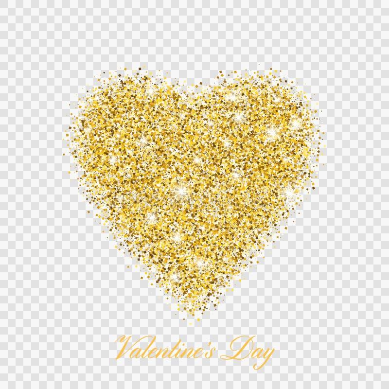 Coeur brillant de scintillement d'or de Saint Valentin Symbole de coeur d'amour d'illustration de vecteur illustration libre de droits