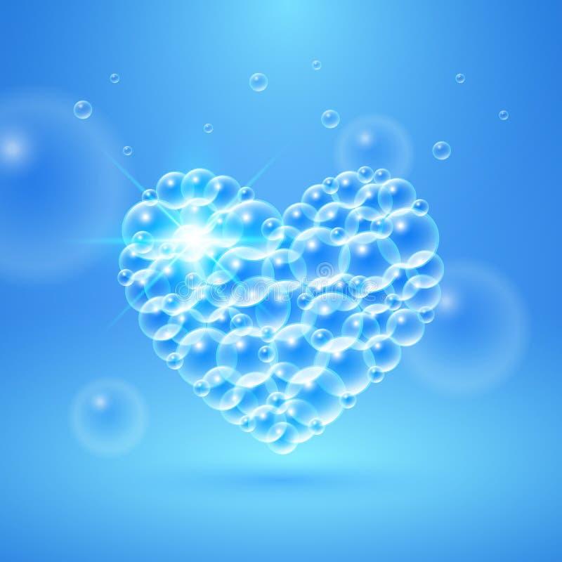 Coeur brillant des bulles illustration de vecteur