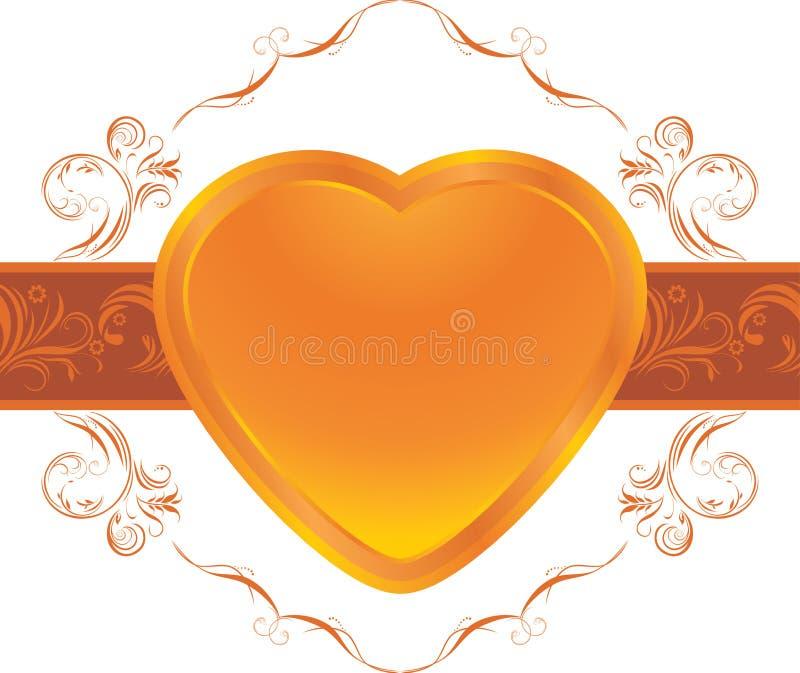 Coeur brillant sur la trame ornementale illustration de vecteur