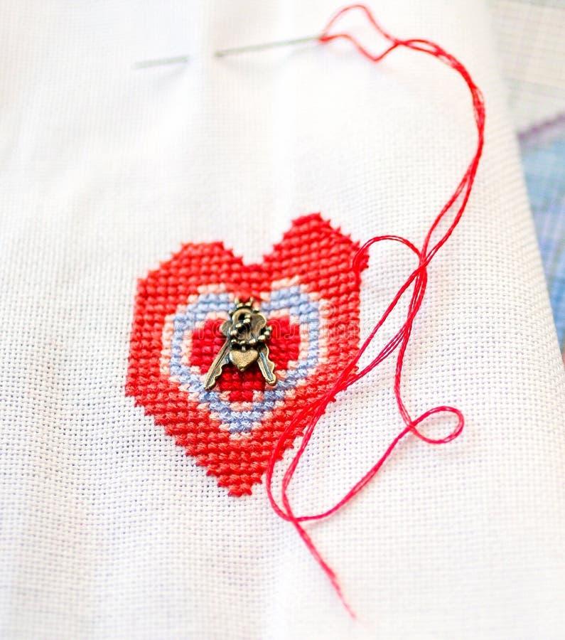 Coeur brodé photo stock
