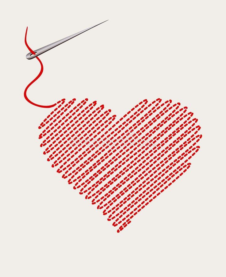 Coeur brodé avec un fil d'aiguille illustration stock