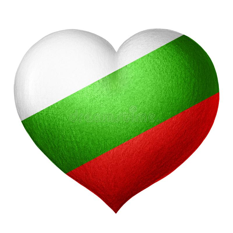 Coeur bulgare de drapeau d'isolement sur le fond blanc Dessin au crayon illustration de vecteur