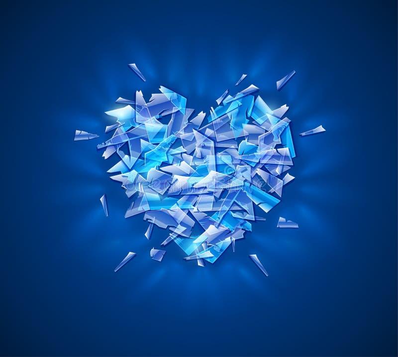 Coeur cassé de diamant Fragments brillants de verre cristal illustration de vecteur