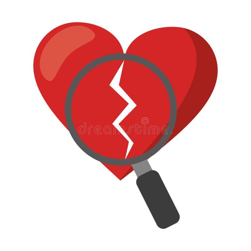 Coeur cassé et loupe illustration libre de droits