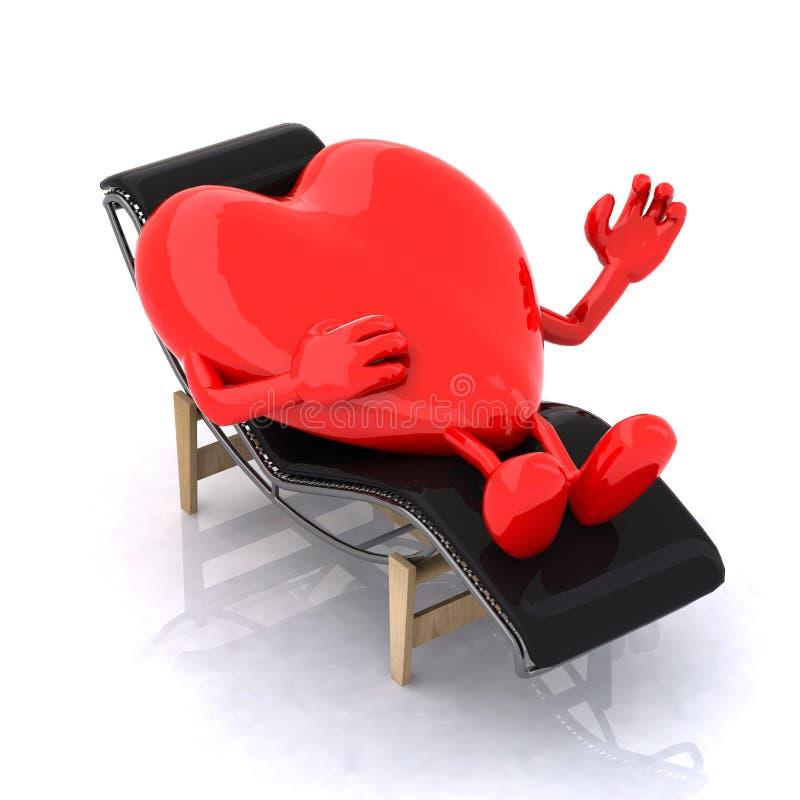 Coeur ce repos sur une chaise longue illustration de vecteur
