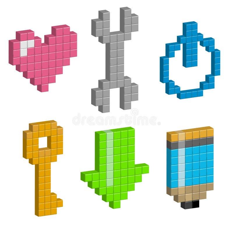 Coeur, clé, bouton de puissance, charge, crayon dans la conception de pixel illustration de vecteur