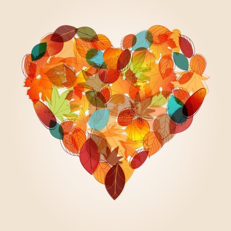 Coeur coloré d'illustration de lames d'automne illustration de vecteur