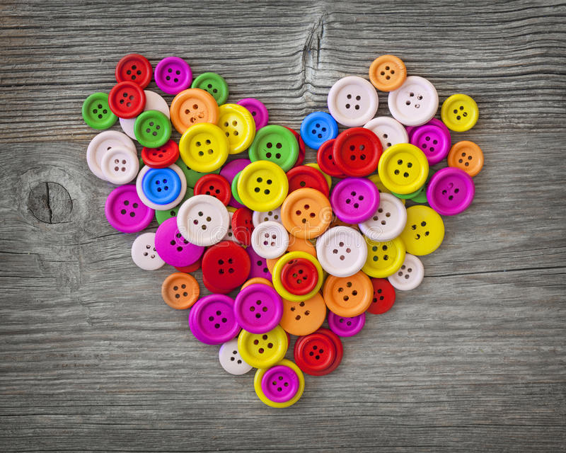 Coeur coloré de boutons photos libres de droits