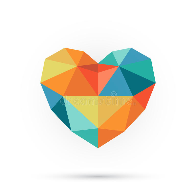 Coeur coloré de polygone illustration libre de droits